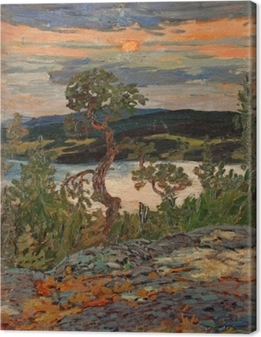 Helmer Osslund - Evening in Ångermanland Canvas Print