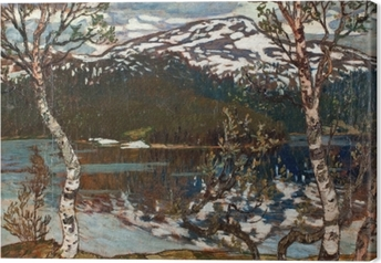 Helmer Osslund - Spring Day at the Lake of Rensjön near Åre Canvas Print