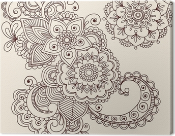 Henna Tattoo Abstract Paisley Flower Doodles Vector Canvas Print