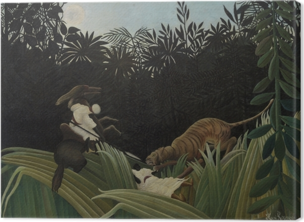 Henri Rousseau - Scout Attacked by a Tiger Canvas Print - Reproductions