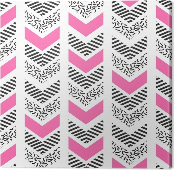 Herringbone abstract seamless pattern in memphis style pink black and white arrows in retro 80s design canvas print