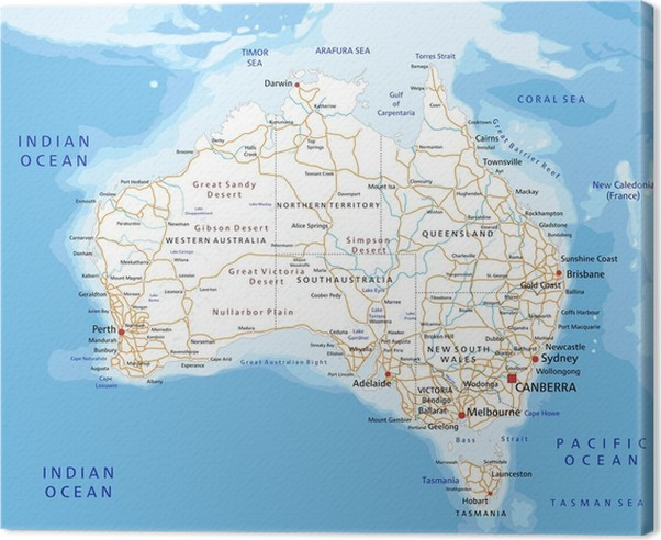high detailed australia road map with labeling canvas print