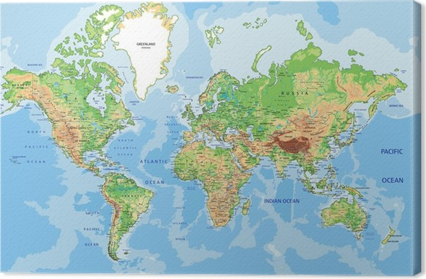 Highly detailed physical world map with labeling canvas print highly detailed physical world map with labeling canvas print gumiabroncs Choice Image