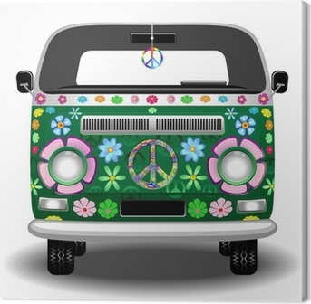 Hippie Groovy Van Peace and Love Canvas Print