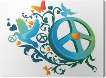 hippie peace symbol Canvas Print