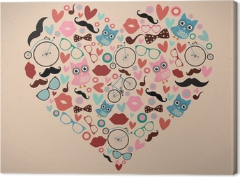 Hipster Doodles Set in Heart Shape Canvas Print