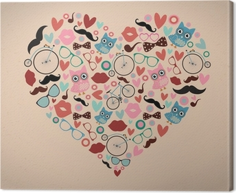 Hipster Doodles Set in Heart Shape Canvas Print