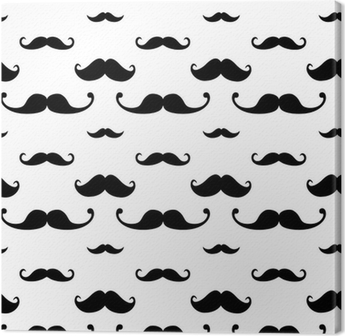 Hipster Mustache Seamless Pattern Canvas Print