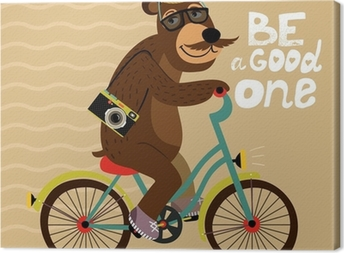 Hipster poster with geek bear Canvas Print