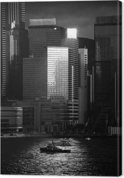 Hong kong cityscape black and white tone canvas print