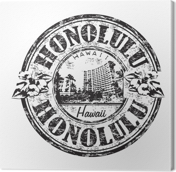 Honolulu Grunge Rubber Stamp Canvas Print Pixers 174 We