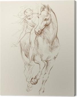 Horse and Rider. Based on drawing of Leonardo da Vinci Canvas Print