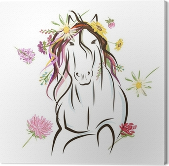 Horse sketch with floral decoration for your design. Symbol of Canvas Print