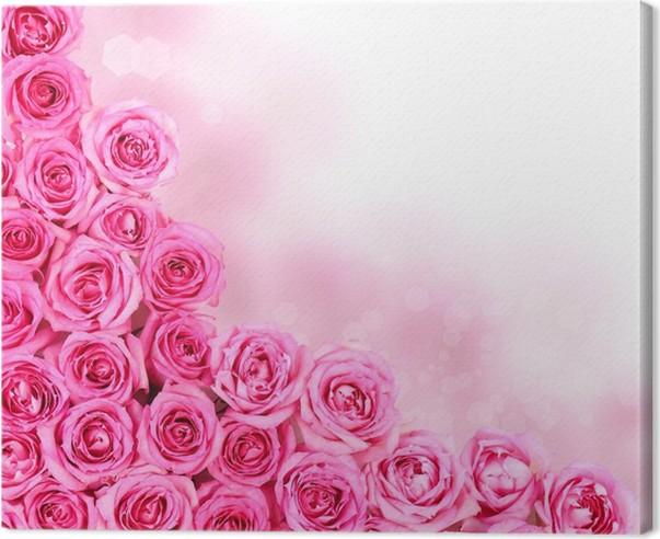 Hot pink roses over white background border canvas print pixers hot pink roses over white background border canvas print flowers mightylinksfo