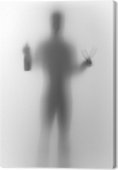 Human male body silhouette, with bottle and glasses Canvas Print