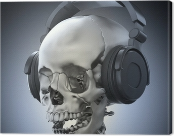 Human skull with headphones Canvas Print
