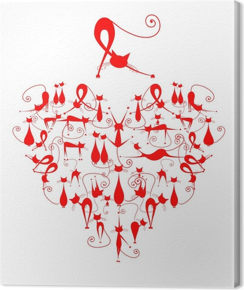 I Love Cats Cats Silhouette In Heart Shape For Your Design Canvas