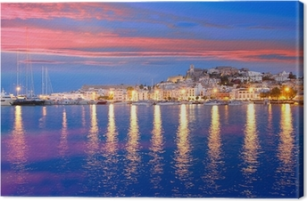Ibiza island night view of Eivissa town Canvas Print