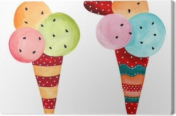 ice-cream. watercolors on paper Canvas Print