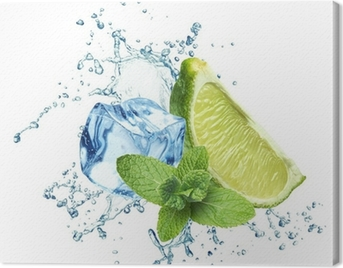 Ice cubes, mint leaves, water splash and lime on a white Canvas Print