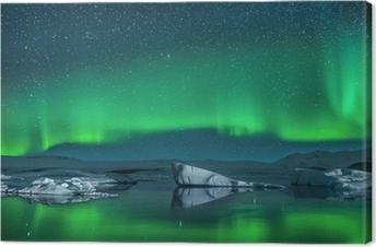 Icebergs under Northern Lights Canvas Print