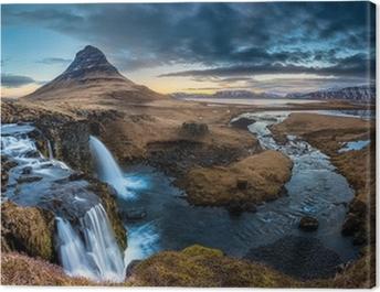 Iceland landscape - Sunrise at Mt. Kirkjufell Canvas Print