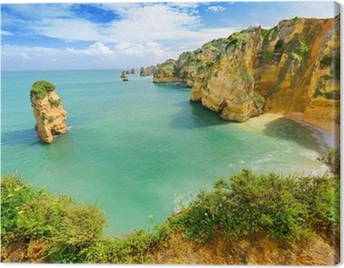 Idyllic beach landscape at Lagos, Algarve, (Portugal) Canvas Print