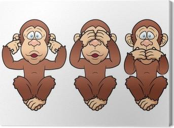 Drei Affen Nichts Sehen Hören Sagen Canvas Print