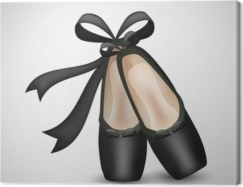 Illustration of realistic black ballet pointes shoes Canvas Print