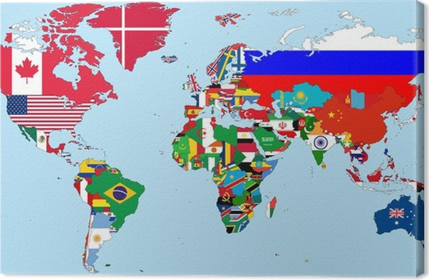 Illustration of the countries national flags on the world map canvas illustration of the countries national flags on the world map canvas print gumiabroncs Choice Image