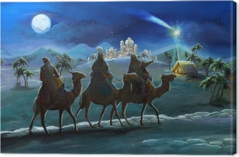 Illustration of the holy family and three kings Canvas Print