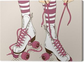 Illustration with female legs in retro roller skates Canvas Print