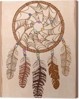 Illustration with tribal dreamcatcher Canvas Print