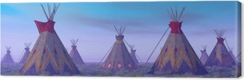 Indian Camp at Dawn Canvas Print