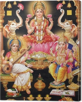 INDIAN GODESS MAA LAKSHMI WITH MAA SARASWATI AND GANESH JI Canvas Print