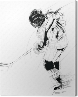 Ink drawing illustration of an ice hickey player Canvas Print