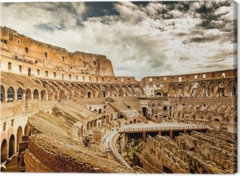 Inside of Colosseum in Rome, Italy Canvas Print