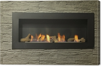 interior fireplace Canvas Print