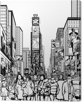 Interpretation of Times Square in New York Canvas Print