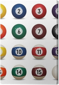Isolated colored pool balls. Numbers 1 to 15 and zero ball Canvas Print