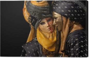 isolated on black venetian couple Canvas Print