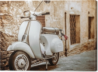Italian Scooter in Grungy Alley, Vintage Mood Canvas Print