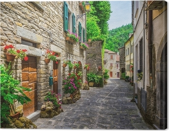Italian street in a small provincial town of Tuscan Canvas Print