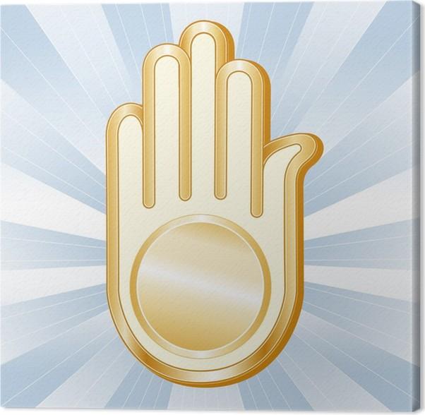 Jain Symbol Golden Ahimsa Icon Of The Jain Faith Canvas Print