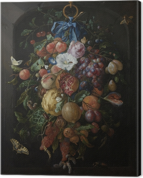 Jan Davidsz - Festoon of Fruit and Flowers Canvas Print - Reproductions