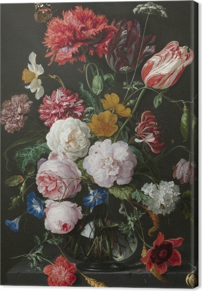 Jan Davidsz - Still Life with Flowers in a Glass Vase Canvas Print - Reproductions
