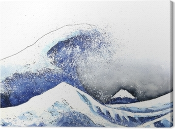 japanese great wave art. watercolor style.hand drawn Canvas Print
