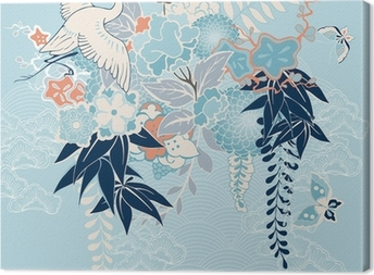 Japanese kimono motif with crane and flowers Canvas Print
