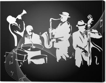 Jazz concert black background Canvas Print