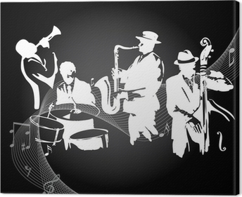 Jazz concert black background Canvas Print